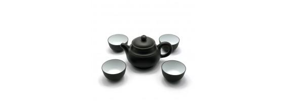 Сервиз глиняный чайник и 4 пиалы с глянцем