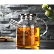 Заварочный стеклянный чайник с металлической крышкой 1600 мл