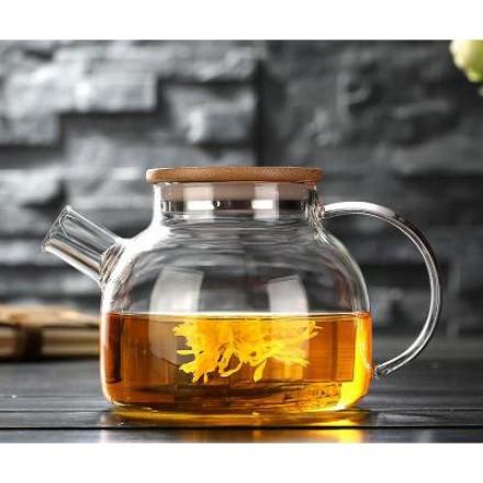 Заварочный стеклянный чайник с бамбуковой крышкой 1000 мл
