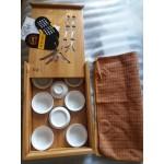 Набор чайный фарфор с бамбуковым столиком в сумке