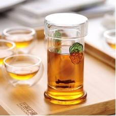 Стеклянная колба для заваривания чая с цветными ручками