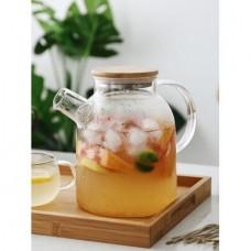 Заварочный стеклянный чайник с бамбуковой крышкой 1600 мл