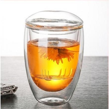 """Стеклянный стакан заварник с двойными стенками """"Bodum"""" (Качественная реплика)"""