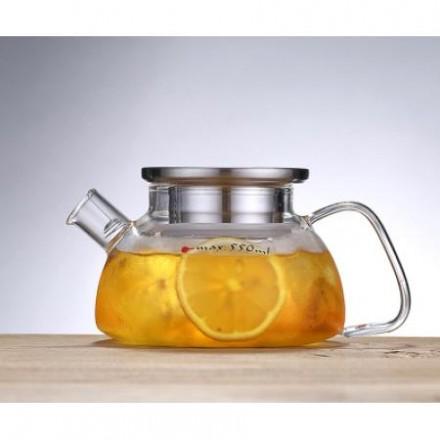 Заварочный стеклянный чайник с металлической крышкой