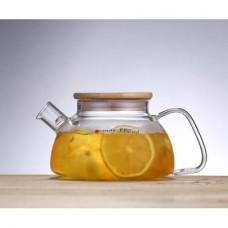 Заварочный стеклянный чайник с бамбуковой крышкой