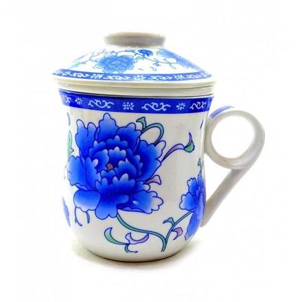 """Керамическая Чашка """"Синие цветы"""""""
