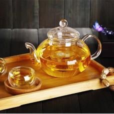 Чайник с ситом и чашкой стекло