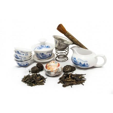 Набор для чаепития из фарфора и 5 видов пуэров