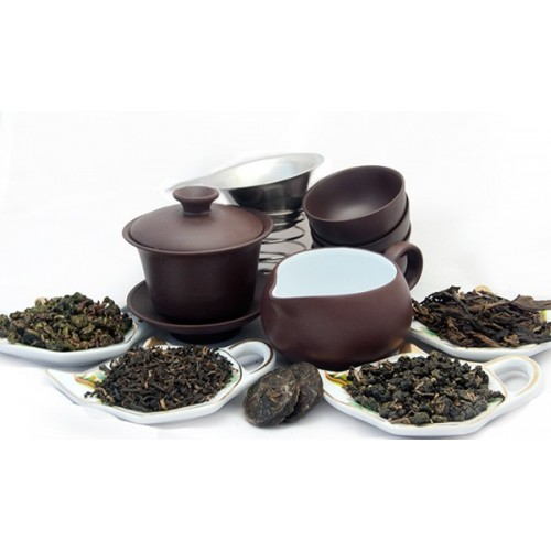 Набор чайный из глины и 5 видов чая по 12 грамм
