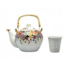 Заварочный чайник фарфор - Цветы