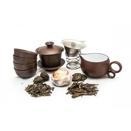 Набор для чаепития из глины и 5 видов пуэра