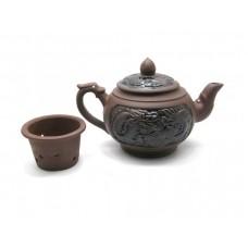 Чайник с ситом из глины - Дракон - 13х21х11,5 см