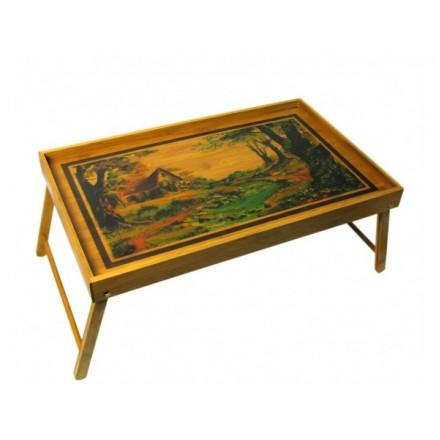 Чайный столик бамбуковый с ножками складной